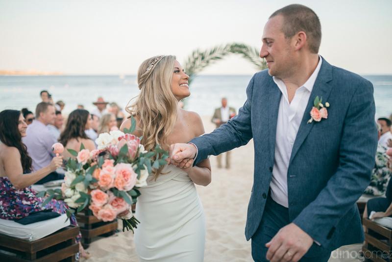 Wedding dress and hair style for a beach wedding