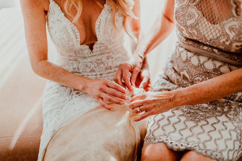 An intimate moment between the bride and her mother