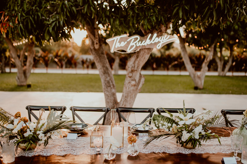 Main table and Wedding Neon Sign